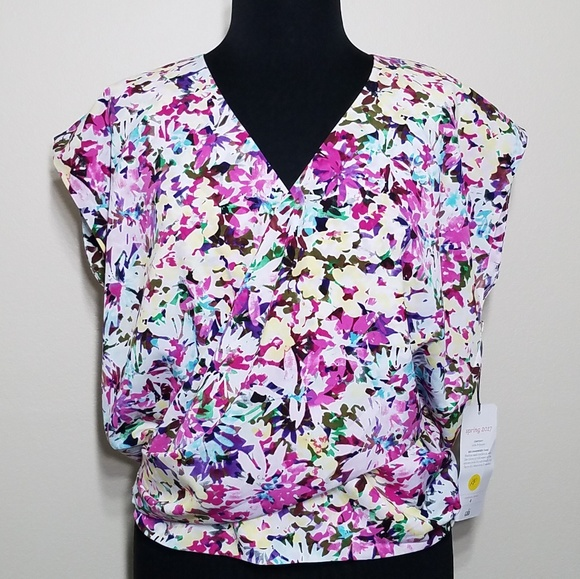 122518bbee5 CAbi Colorful Floral Eden Crossover Blouse Medium NWT
